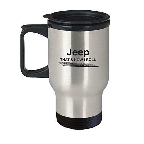 Jeep Travel Coffee Mug - Jeep That's How I Roll Beer Cup - Wrangler JK, Grand Cherokee XJ Renegade & Compass Accessories - Best Birthday, Christmas Gift Idea for Men, - Boys Chino Cherokee