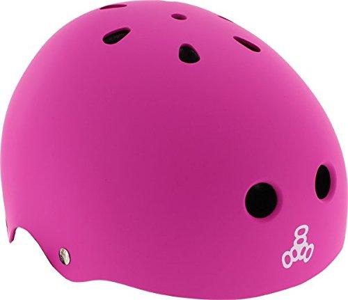 Neon Pink Skateboards (Triple 8 Lil 8 Pink Rubber Youth Skateboard Helmet - CE/CPSC Certified)