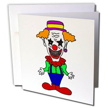 - 3dRose All Smiles Art Funny - Cute Funny Evil Scary Clown Cartoon - 1 Greeting Card with Envelope (gc_265109_5)