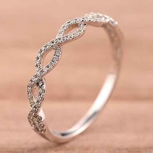Amazoncom Infinity Diamond Wedding Band Half Eternity Stackng