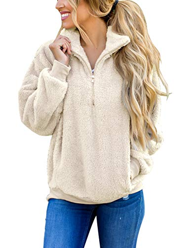 MEROKEETY Women's Long Sleeve Contrast Color Zipper Sherpa Pile Pullover Tops Fleece with Pocket Beige