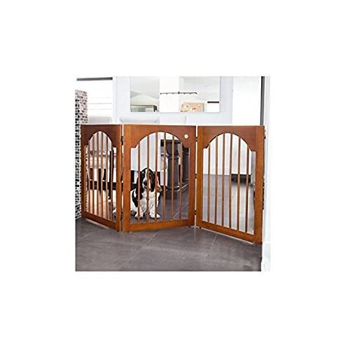Image of Pet Supplies Universal Free Standing Pet Gate (Wood insert & Cherry Stain)