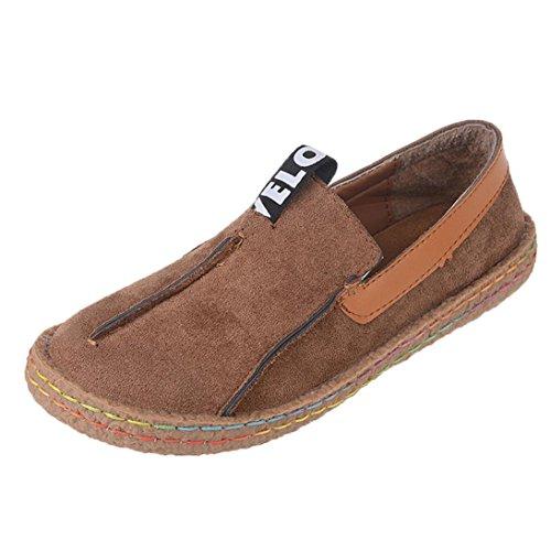 WINWINTOM Moda Zapatos de Los Guisantes de Las Señoras Zapatos Perezosos Zapatos Ocasionales Zapatos Para Mujer Zapatos Redondos del Verano del Dedo del Pie de La Sandalia marrón