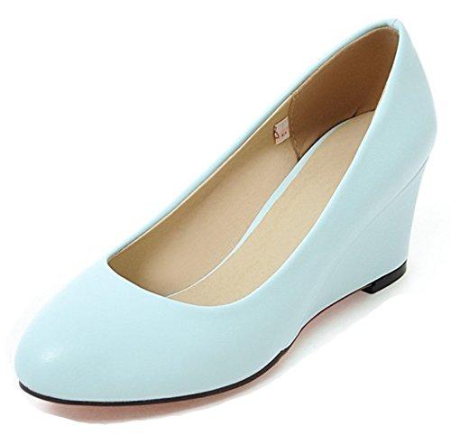 Estilo De Corte Sencillo De Corte Bajo De Las Mujeres De Aisun Elegante Desgaste Para Trabajar Tacones Mediados De Deslizamiento En Bombas De Cuña Zapatos Azul