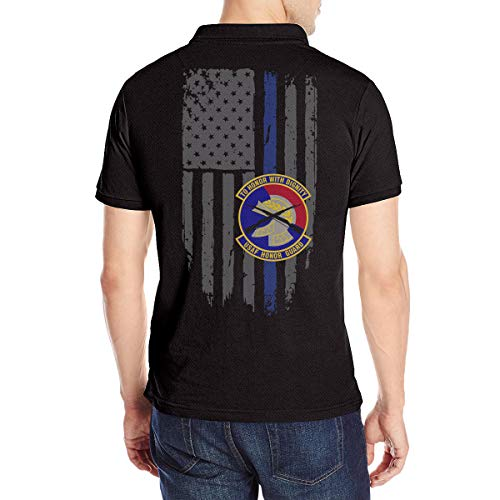 (OURTEE USAF Honor Guard Men's Polo Shirt Golf Polo Shirt Collars Polo Shirt Black)