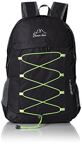 CLEVER BEES Outdoor Water Resistant Hiking Backpack, Black