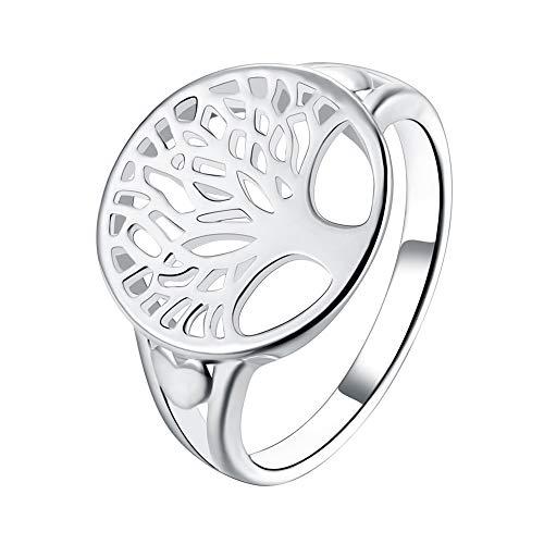 Greendou Fashion Jewelry 925 Sterling Silver Tree of Life Ring Jewelry Wedding Women Cute Size 7-9 (8)