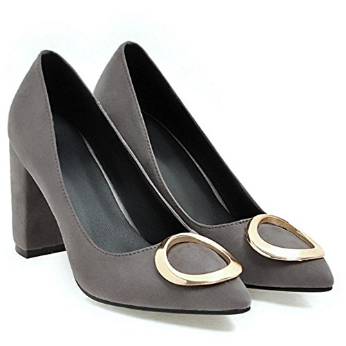 Women Heel Chunky Shoes Novelty 17 Gray TAOFFEN Pumps SqwdTWxWt