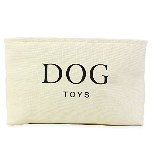 Cream Canvas Dog Toy Basket Box for Dogs Toy Storage. Dimensions: 16.5in x 12.5in x 7.5in Style Dog Box