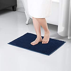 Lifewit Non-slip 61 × 43 cm Chenille Bath Mat, Easy to Clean Bathroom Mats, Soft Shower Rug, Dark Blue