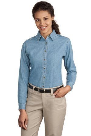 Port & Company Women's Long Sleeve Value Denim Shirt M Faded Blue