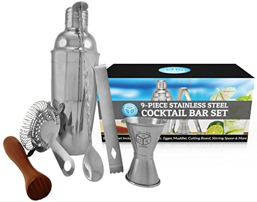 [9Pc Bar Tool Accessory Set- With Cocktail Shaker, Perfect Kit for Bartending and Mixing Drinks, Shaker, Strainer, Stirring Spoon, Muddler, Jigger, Tongs, & Cutting Board Included-By: On The Rox] (Very Special Cognac)