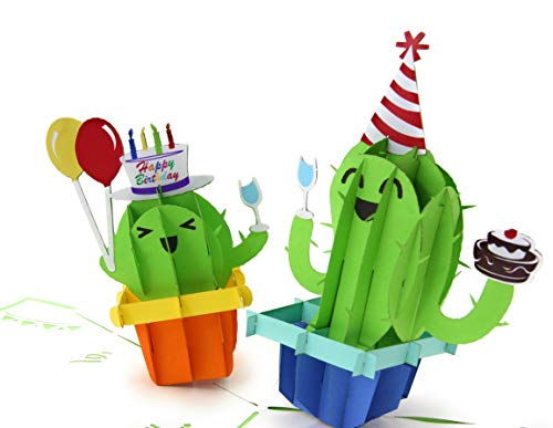 (PopLife Cactus Party 3D Pop Up Happy Birthday Card - Cute Birthday Pop Up - Folds Flat for Mailing - Gift for Grandkids, Kids Bday, Office Birthday Card, Surprise Party, Cactus Gifts, Desert Theme)