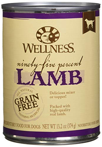 Wellness 95% Lamb Natural Wet Grain Free Canned Dog Food, 13.2-Ounce Can (Pack of 12)