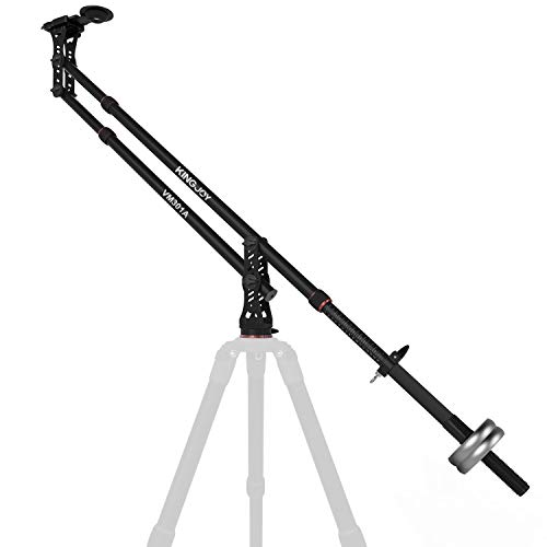 KINGJOY 82.7 inches Aluminum Camera Jib Arm Crane Tilt with 1/4 and 3/8-inch Quick Shoe Plate, 360 Degree Pan Ball Head, Counter Weight for DSLR Video Cameras, Load up to 17.6 lbs, VM-301A (Crane Jib Head)