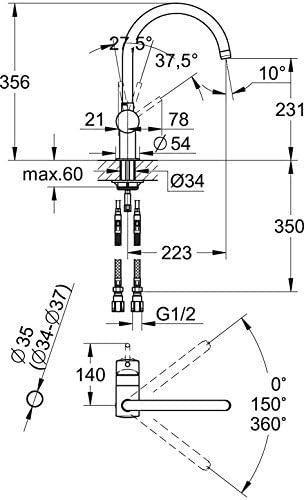グローエ(GROHE) MINTA ミンタ シングルレバーキッチン混合栓 コールドスタートタイプ 30285000
