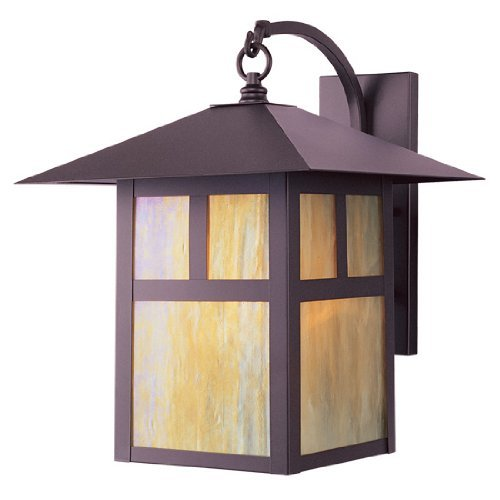 Livex Lighting 2137-07 Montclair Mission 1 Light Outdoor Bronze Finish Solid Brass Wall Lantern with Iridescent Tiffany Glass by Livex - Store Montclair