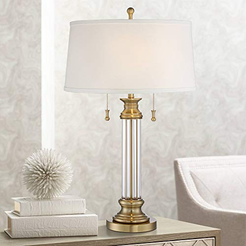 Rolland Traditional Table Lamp Crystal Brass Column Off White Tapered Drum Shade for Living Room Family Bedroom