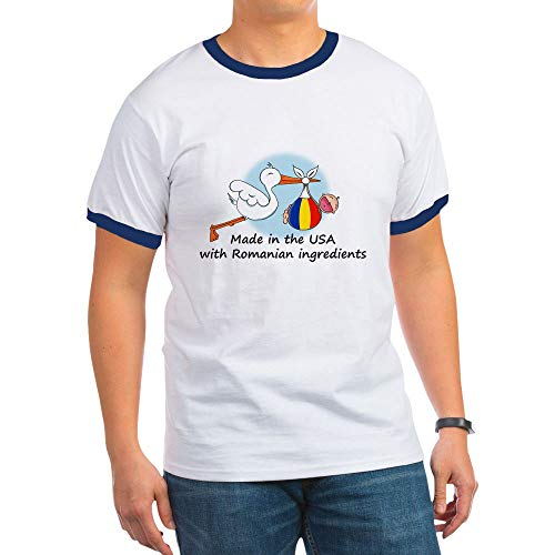 CafePress Stork Baby Romania USA Ringer T-Shirt, 100% Cotton Ringed T-Shirt, Vintage Shirt - Drinking T-shirt Ringer Team