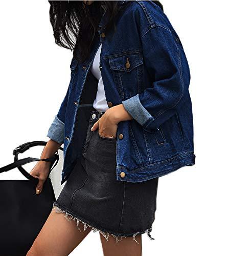 Loose Women's Denim Jackets, Vintage Dark Blue Women Jean Jackets, Long Sleeve Stretch Boyfriend Denim Jacket Coat for Women