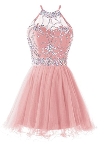 Musever Women's Halter Short Homecoming Dress Beading Tulle Prom Dress Blush US 6