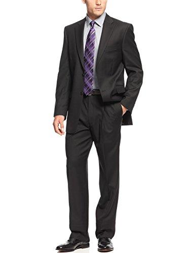 (Jones New York Men's Trent 2 Button Side Vent Slim Fit Suit, Black Shadow Stripe, 40 Long)