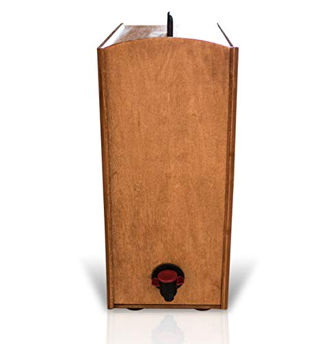 Boxed Wine Wood Case by Winewood | Hazelnut Stain | Fits 3 Liter and 5 Liter Boxes of Wine | Holder, Dispenser, Cover for Boxed Wine