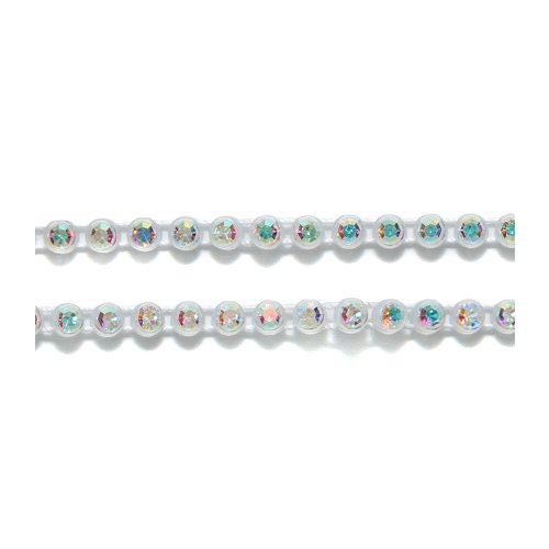 - Preciosa Size SS13 Crystal Aurora Borealis Finish Rhinestone with Clear Plastic Banding, 1m Long