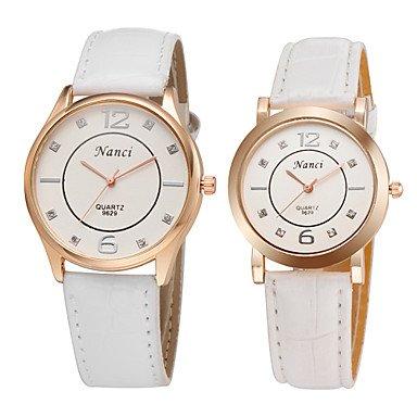 Casual hombre mujer reloj de pulsera de cuarzo 2015 más nuevo cuero de la PU encantadora de diamantes de imitación de diamante de parejas , brown-for lady: ...