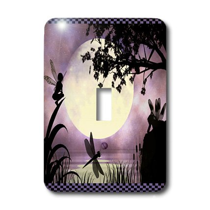 3dRose lsp_35668_1 Fairies And Dragonflies With An Purple Moon Single Toggle Switch