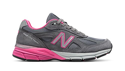 New Balance Women's w990v4 Running Shoes, Grey/Pink, 7.5 B US