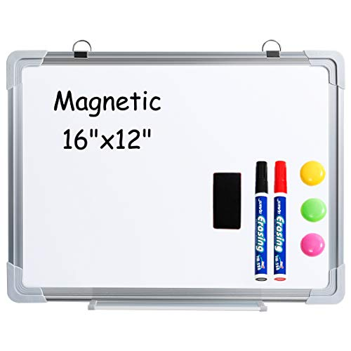(DOEWORKS 12'' x 16'' Small-Sized Dry Erase Board Whiteboard with 2 Dry Eraser Markers, 3 Magnets and 1 Magnetic Dry Eraser )
