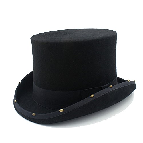 HHF Hats & Caps 15CM Top Hat Steampunk Hat Handmade Rivet Mad Hatter Vintage Women Men Traditional Wool Fedoras Hat Uncle Sam Beave Hat (Color : Black, Size : 59cm) - Traditional Black Top Hat