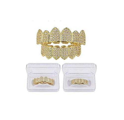 ICE BOX Teeth Grills Hiphop Rocker Hollow Caps Top&Bottom Fang Grills Set. Hip hop Diamond Grill Dental Jewelry Punk Cubic Zirconia Gold Color Women/Men