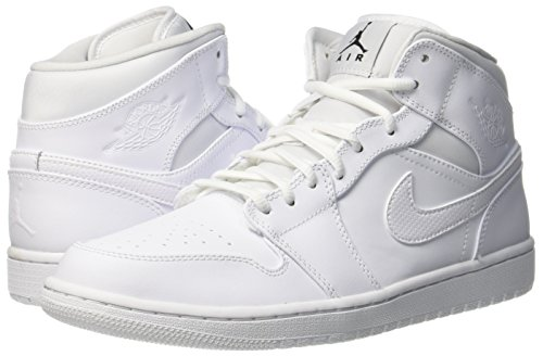 Nike Heren Air Jordan 1 Mid Basketbalschoen Wit / Wit / Zwart