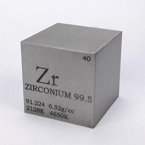 (1 inch 25.4mm Zirconium Metal Cube 99.5% 107g Engraved Periodic Table)