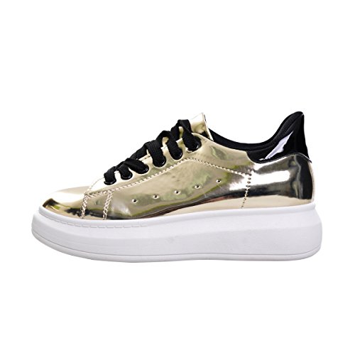 Dear Time Women Creepers Shoes Casual Platform Loafers Walking Sneakers Gold 6VdNdpq