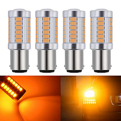 KaTur 4pcs 1157 BAY15D 5630 33-SMD Amber 900 Lumens 8000K Super Bright LED Turn Tail Brake Stop Signal Light Lamp Bulb 12V 3.6W