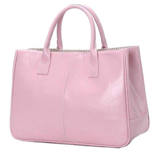 Ginkgo Fashion Women Korea Simple Style PU leather Clutch Handbag Bag Totes Purse Pinks, Bags Central