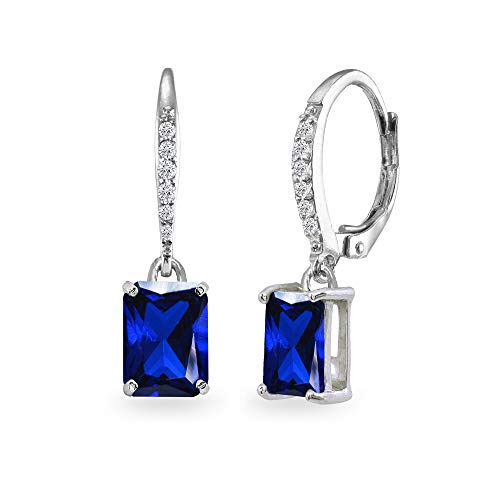 Sterling Silver Created Blue Sapphire & Cubic Zirconia 8x6mm Octagon-cut Polished Dangle Leverback Earrings