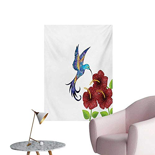 Anzhutwelve Hummingbird Photographic Wallpaper A Hummingbird in Flower Garden Fantasy Tails Wings Imaginative ArtworkBurgundy Green W32 xL36 Custom Poster