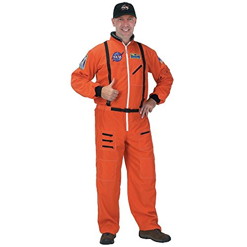 Orange Astronaut Jumpsuit Adult Mens Costumes (Astronaut Suit Adult Costume - Large)