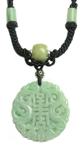 (Imperial Twin Dragon Grade A Green Jade Amulet Fortune Script Necklace-Fortune Jade Jewelry)