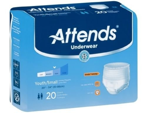 Attends Youth/Small Underwear Heavy Absorbency Bag of 20