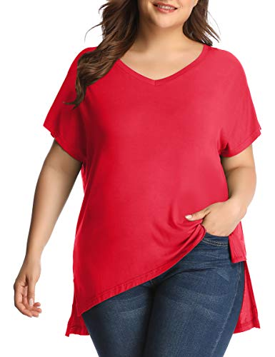 LARACE Women's Plus Size V Neck T Shirt Casual Basic Tee Tops with Side Split(3X, Red)