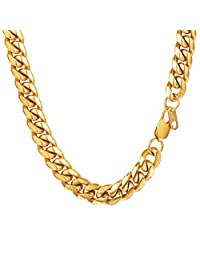 Cuban Chain Clasp 6MM/10MM/14MM Wide Necklace Pendant 316L Stainless Steel Jewelry 18K Gold/Black Gun Plated Men Jewelry 18''/20''/22''/24''/26''/28''/30''