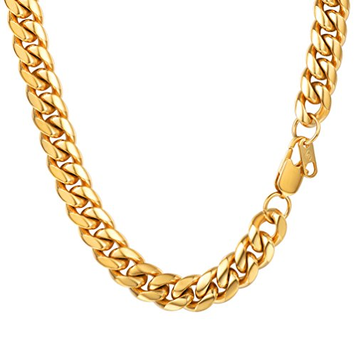 Miami Cuban Link Mens Chain Necklace,Fashion Jewelry,18K Real Gold Plated,Hiphop Gold Chain for Men,Hip Hop Jewelry,Collar Necklace,PSN2910J-20 by PROSTEEL