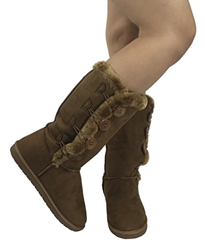 Mid Button Warm Trish Girls Boot Studio Calf Womens Soft Lined Winter Fur D Tall Faux Tan Suede wqSCzv