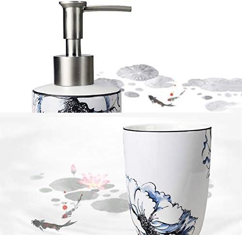 FXin バスルームアクセサリー、セラミックシンプルな創造的なマグカップ歯ブラシホルダーウォッシュセット5のバスルームセット シャワー室