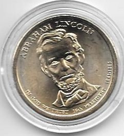 The Abraham Lincoln Presidential Golden Dollar Uncirculated Coin 2010 D Mint